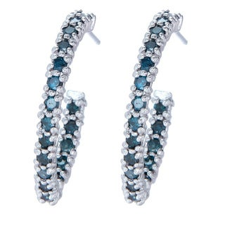 Sterling Silver 1ct TDW Blue Diamond Semi-hoop Earrings
