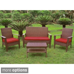 International Caravan Contemporary Resin Wicker Settee Group with Corded Cushions