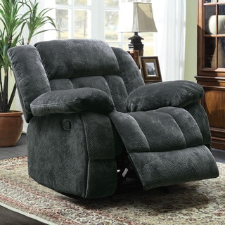 TRIBECCA HOME Mason Modern Gray Microfiber Glider Reclining Chair
