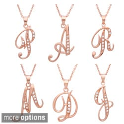 Sterling Essentials Rose Gold over Silver CZ Script Initial Necklace