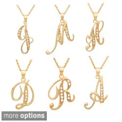 Sterling Essentials 14k Gold over Silver CZ Script Initial Necklace