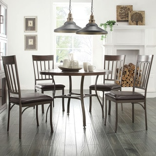 Keyaki Rustic Antique Bronze 5-Piece Oak Dining Set