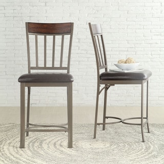 Keyaki Rustic Dark Cherry Birch Counter Height Dining Chairs ( Set of 2)