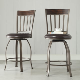 Keyaki Rustic Bronze Swivel Counter Height Stools ( Set of 2)