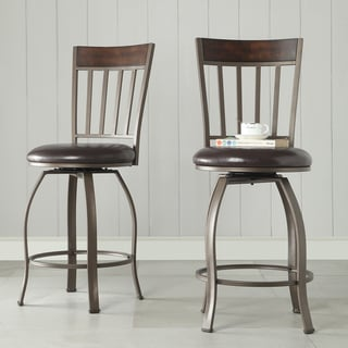 Keyaki Rustic Bronze Swivel Counter Height Dining Chairs ( Set of 2)