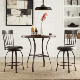 Keyaki Rustic 3-Piece Oak Table with Swivel Stools Dining Set