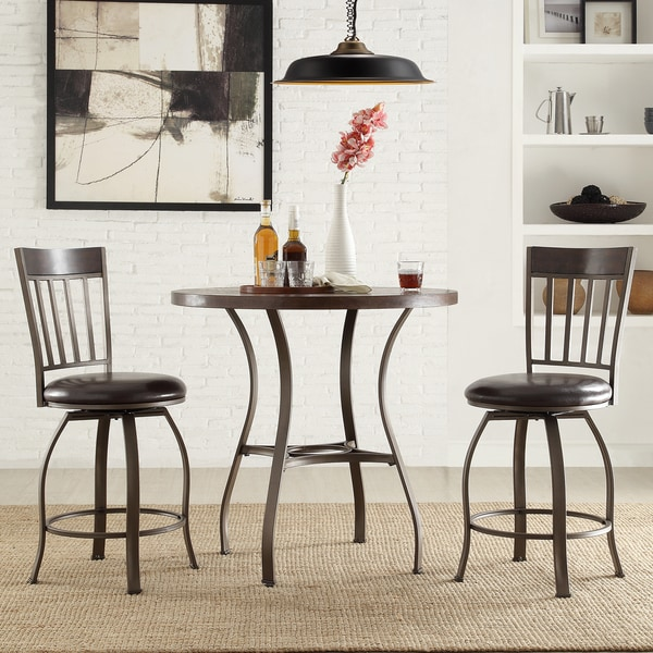 Keyaki Rustic 3 Piece Oak Table With Swivel Stools Dining