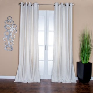 Sahara Cream Pinstripe Linen Blend 96-inch Curtain Panel