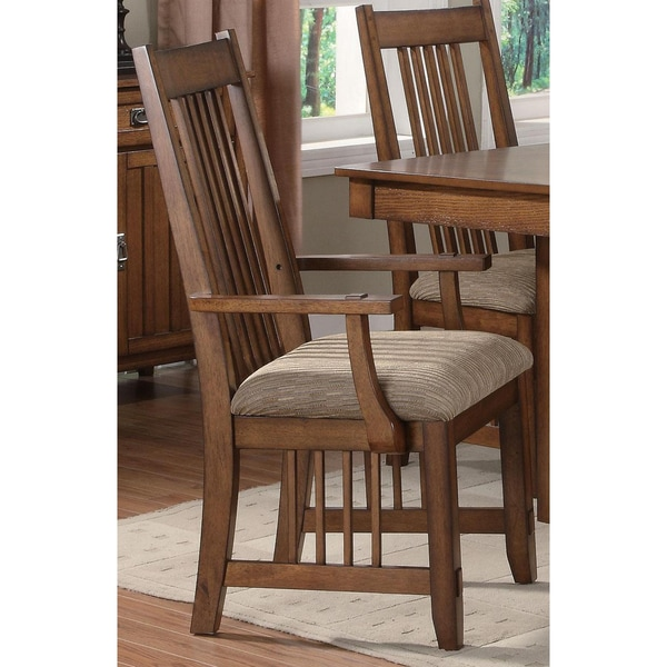 Mission Country Walnut Oak Arm Chairs (set of 2)