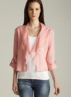 Insight Blush Tab Sleeve Draped Collar Linen Jacket