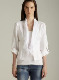 Insight Tab Sleeve Draped Collar Linen Jacket