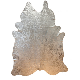 Decenni Custom Furniture Silver Acid Washed Genuine Cowhide Rug (5' x 8')