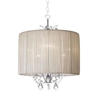 Glamorous Oyster Pleated Drum Shade 3-light Crystal Chandelier