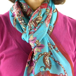 Aqua and Red 'Clocks' Fashion Scarf