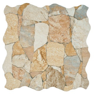SomerTile Atticus Beige Stone-look Ceramic Floor and Wall Tile (Case of 7)