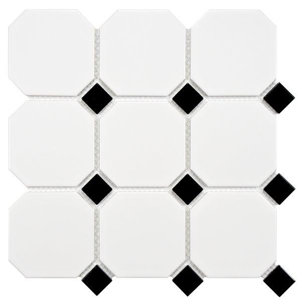 Victorian Octagon Matte White With Black Dot Porcelain Mosaic Floor