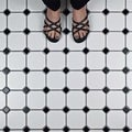 SomerTile 11.625x11.625-inch Victorian Octagon Matte White with Black Dot Porcelain Mosaic Floor and Wall Tile (Case of 10)