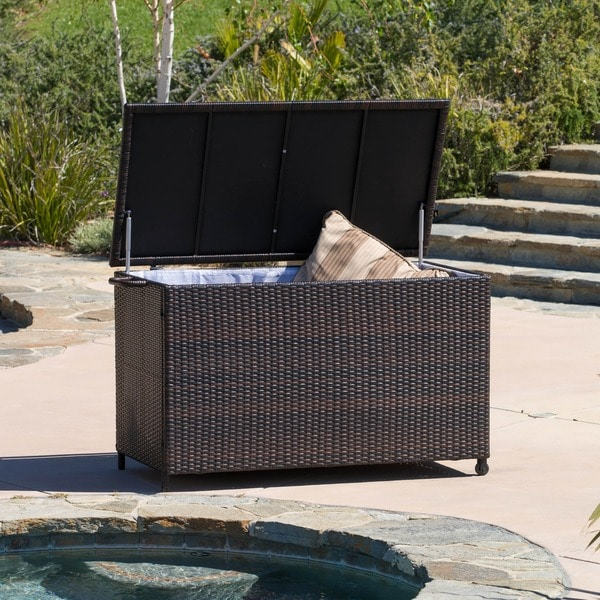 Small Brown Wicker Cushion Box