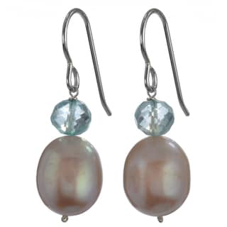 Ashanti Silver Pink Freshwater Pearl, Blue Quartz Faceted Briolette Dangle Earrings (Sri Lanka)