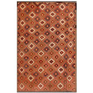 Afghan Hand-knotted Mimana Kilim Brown/ Pink Wool Rug (7'1 x 10'10)