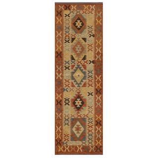Afghan Hand-knotted Mimana Kilim Ivory/ Orange Wool Rug (2'1 x 6'5)
