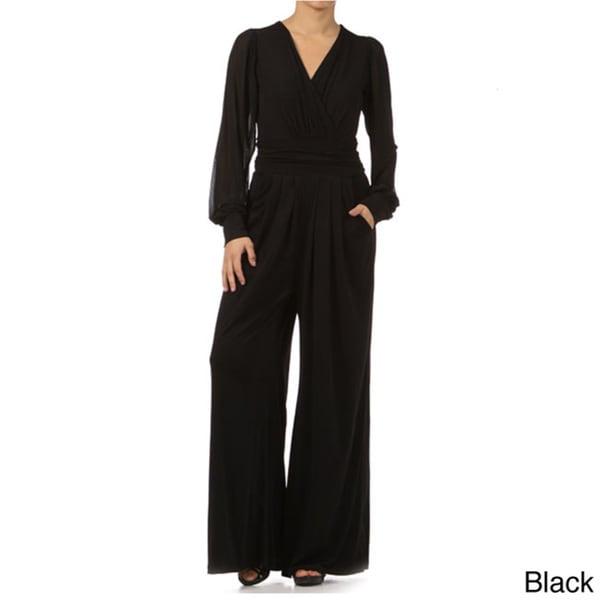 Tabeez Women's Mesh Sleeve Cummerbund Waist Jumpsuit