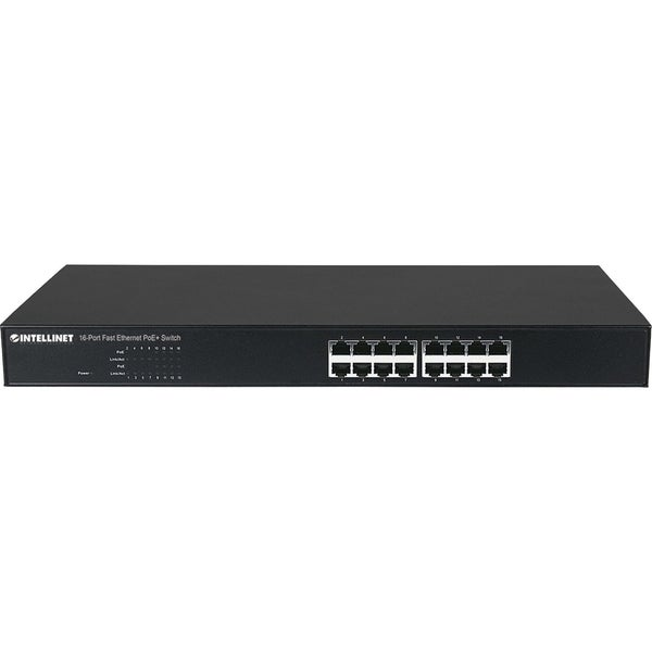 Intellinet 16-Port 10/100 PoE+ Rackmount Switch with 8 PoE+ Ports