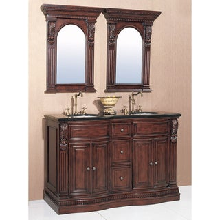 Granite Top 60-inch Double Sink Bathroom Vanity with a Pair of Matching Mirrors