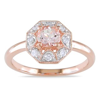 Miadora Rose Plated Silver Morganite 1/8ct TDW Diamond Ring (H-I, I2-I3)