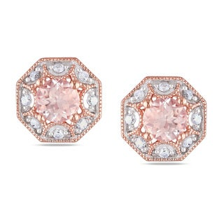 Miadora Rose Plated Silver Morganite 1/8ct TDW Diamond Earrings (H-I, I2-I3)