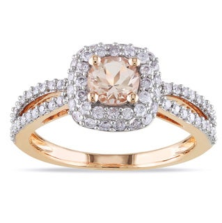 Miadora 14k Rose Gold 1/2ct TDW Diamond Morganite Ring (G-H, I1-I2)