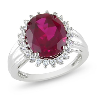 Miadora Sterling Silver Created Ruby and White Topaz Ring