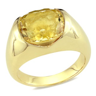 Miadora Yellow Plated Silver Citrine Cocktail Ring