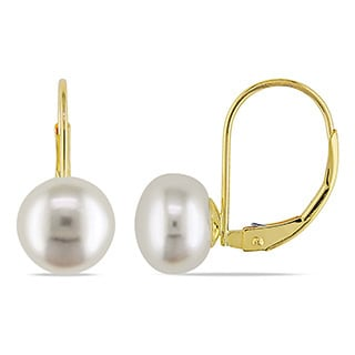 Miadora 14k Yellow Gold White Cultured Akoya Pearl Earrings (8-8.5 mm)