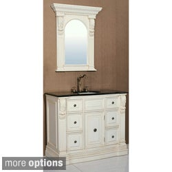 Granite Top 43-inch Single Sink Bathroom Vanity with Matching Mirror