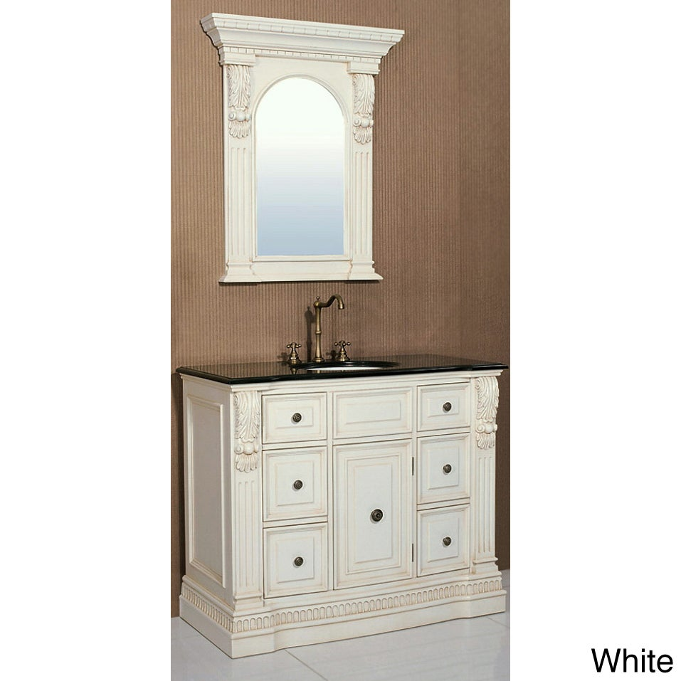 granite top 43 inch single sink bathroom vanity with matching mirror