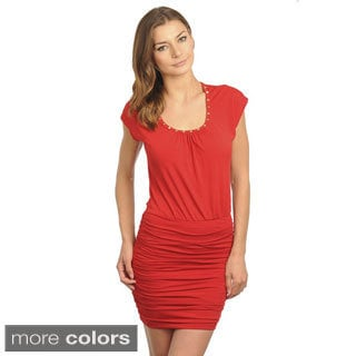Stanzino Women's Cap Sleeve Ruched Dress with Studded Neckline