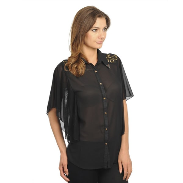 Stanzino Women's Butterfly Sleeve Sheer Studded Black Top