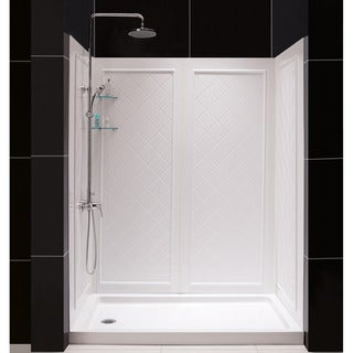 SlimLine Single Threshold Shower Base and QWALL-5 Shower Backwalls Kit