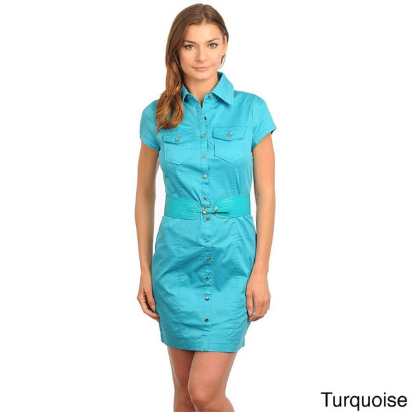 Stanzino Women's Short Sleeve Belted Shirt Dress