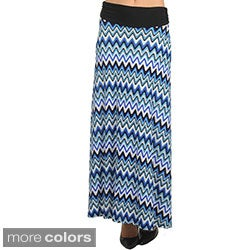 Stanzino Women's Zig-zag Print Maxi Skirt with Fold-over Waist
