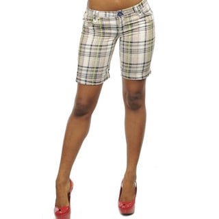 Stanzino Women's Linen Slim Fit Plaid Shorts