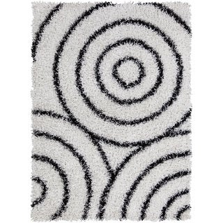 Mandara Hand-tufted White/ Black Shag Rug (7' x 10')