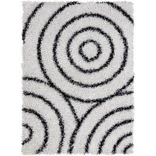 Mandara Hand-tufted White/ Black Shag Rug (7' x 10')