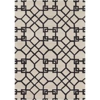 Mandara Hand-tufted Geometric White/ Grey Wool Rug (7' x 10')