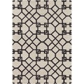 Mandara Hand-tufted Geometric White/ Grey Wool Rug (7' x 10')
