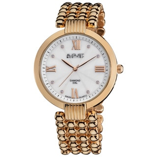 August Steiner Women's Water-Resistant Swiss Quartz Diamond MOP Dial Bracelet Watch