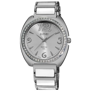 August Steiner Women's Diamonds Ceramic Link Bracelet Watch, Silvertone Face