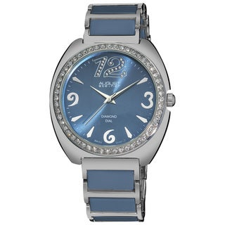 August Steiner Women's Diamonds Water-resistant Ceramic Link Bracelet Watch