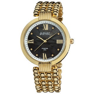 August Steiner Women's Swiss Quartz Diamond MOP Dial Goldtone Bracelet Watch